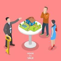 Hus till salu isometrisk platt koncept