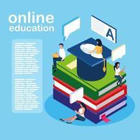 online-utbildningsminipersoner med e-böcker vektor