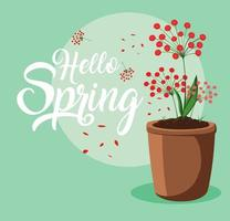 Hallo Frühlingskarte mit schönen Blumen im Topf vektor