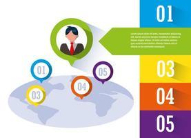 Geschäftsmann mit Infografik und Planet Erde vektor