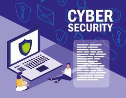 Mini-Menschen mit Laptop und Cyber-Sicherheit vektor