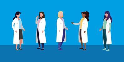 grupp av kvinnliga läkare avatar karaktär