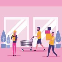 Leute im Einkaufszentrum vektor
