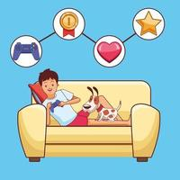 Tonåring med videospelstecknad film