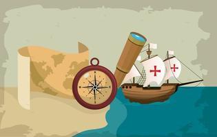 Schiff mit Kompass auf See navigieren