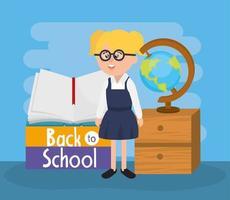 Studentin mit Brille mit Notebook und globale Karte vektor
