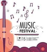 Geigeninstrument zum Musikfestivalereignis vektor