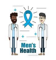 läkare med stetoskop med band mens hälsa