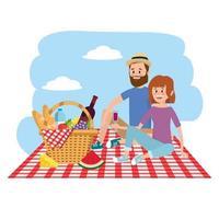 Natur Frau und Mann Paar mit Korb in der Tischdecke vektor