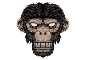 Monkey head dot vector