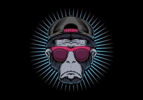 Affenkopf Brillendesign vektor
