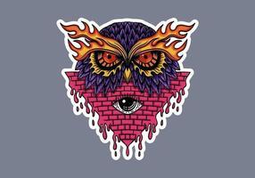 Owl head klistermärkear vektorillustration
