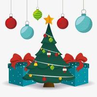 Kartendesign der frohen Weihnachten mit hängenden Verzierungen und Geschenken um Baum