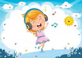 Illustration av barn som lyssnar på musik