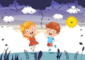 Barn som leker utomhus vektor