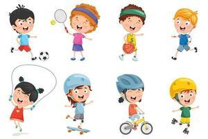 Uppsättning av barn som spelar sport