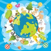 Illustration av världsdjur vektor