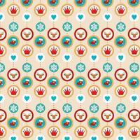 buntes Weihnachtshintergrunddesign mit Ikonen in den Kreisrahmen