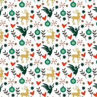 buntes Weihnachtsmuster mit Herzen, Rotwild und Engeln