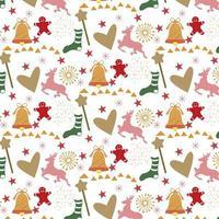 Weihnachtshintergrund mit Herzen, Ren und Lebkuchenmann