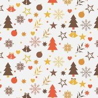julbakgrundsdesign med träd, snöflingor och stjärnor