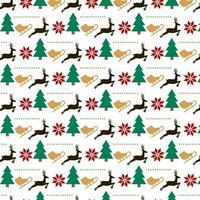 julmönster design med skridsko, träd och renar