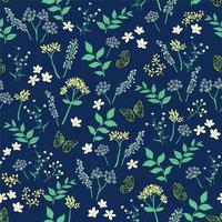 Sommernacht mit Blumen mit Schmetterling nahtlose Muster vektor
