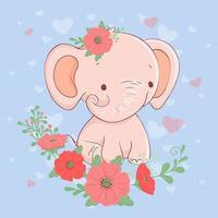 Söt tecknad elefant med en bukett vallmo