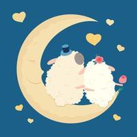 Niedliche Cartoonschafe in der Liebe auf dem Mond