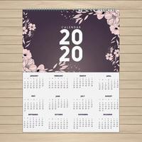 2020 rosa Blumenkalenderentwurf vektor