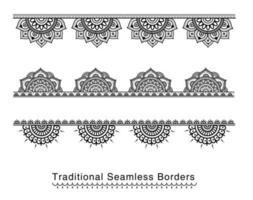 Hoher ausführlicher nahtloser Mandala-Blumengrenzsatz vektor