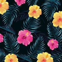 tropische Blumen mit Blättern pflanzt Hintergrund vektor