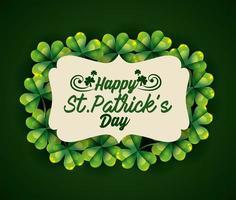St Patrick etikett med klöver dekoration