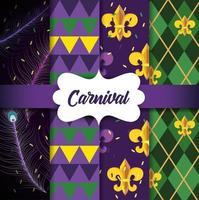 Uppsättning av Mardi Gras-emblembakgrund