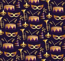 Karnevalmasken mit Trompeten- und Trommelhintergrund