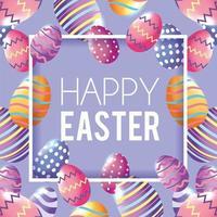 Fröhliche Ostern mit Ostereidekorationshintergrund vektor