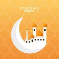 ramadan kareem moskébyggnad i månen vektor