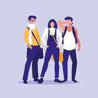 ungdomar gruppmodellerar med handväskor