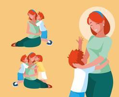 grupp söta mödrar och barn vektor