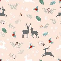 Nahtloses Muster des Weihnachtsfeiertags mit Rotwildfamilie