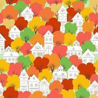 Weißes Stadtdorf auf nahtlosem Muster des bunten Herbstes