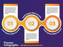 Infographic Gestaltungselement der Zeitachse mit 3 Schritten und Zahlwahlen.