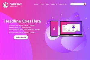 Landningssida för rosa webbplats med telefon och bärbar dator vektor