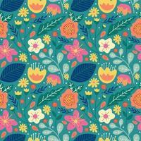 Blumenblumenblüte und nahtloses Muster der Blätter