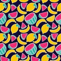 Frucht Zitrone Wassermelone Banane nahtlose Muster