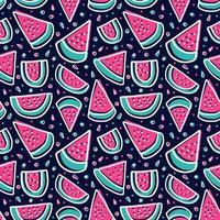 vattenmelon skiva färgglada tropiska färsk frukt sömlösa mönster vektor