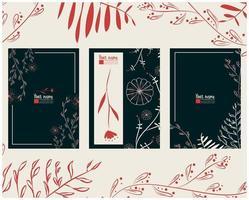 Karten- oder Briefvorlagensatz mit Blumenhand gezeichneten Elementen vektor