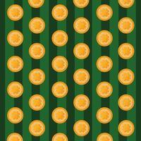 Muster von St Patrick Tag mit Münzen und Klee