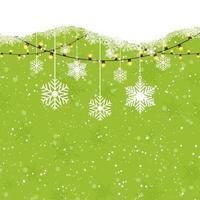 Julbakgrund med hängande snöflingor vektor
