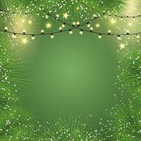 Weihnachtshintergrund mit Lichtern und Tannenbaumasten vektor